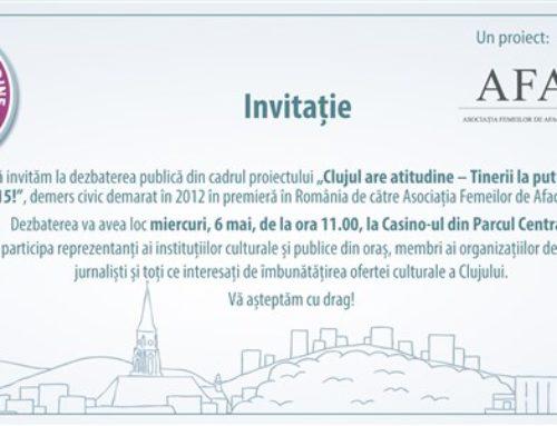 """Invitație la dezbaterea publică """"Clujul are atitudine – Tinerii la putere în 2015!"""""""